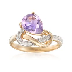 1.60 Carat Amethyst and .12 ct. t.w. Diamond Knot Ring in 14kt Yellow Gold, , default