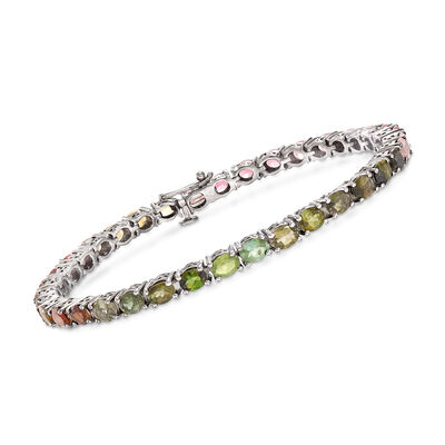 9.60 ct. t.w. Multicolored Tourmaline Tennis Bracelet in Sterling Silver, , default