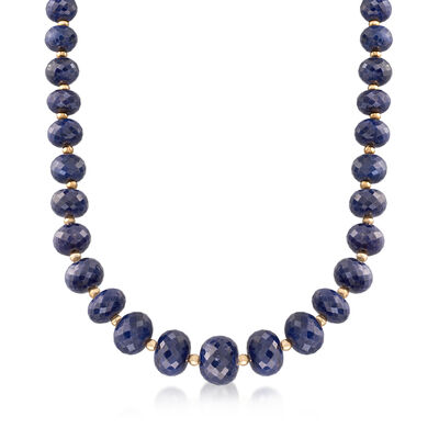 7-13mm Sapphire Bead Necklace with 14kt Yellow Gold, , default