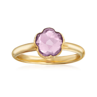 Italian 1.60 Carat Amethyst Flower Ring in 14kt Yellow Gold, , default