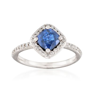 1.05 Carat Sapphire and .25 ct. t.w. Diamond Ring in 14kt White Gold, , default