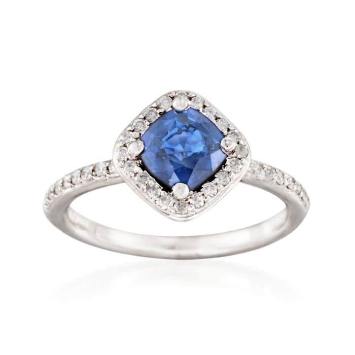 1.05 Carat Sapphire and .25 ct. t.w. Diamond Ring in 14kt White Gold
