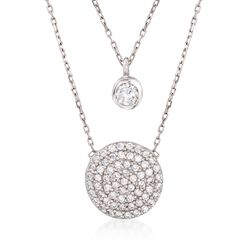 ".95 ct. t.w. CZ Layered Circle Necklace in Sterling Silver. 18"", , default"