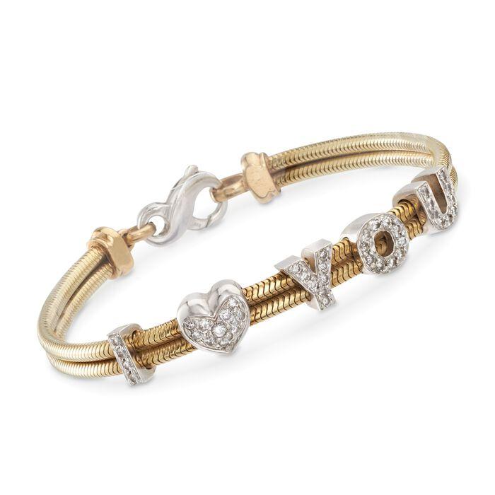 "C. 1980 Vintage .75 ct. t.w. Diamond ""I Love You"" Bracelet in 14kt Two-Tone Gold. 7"", , default"
