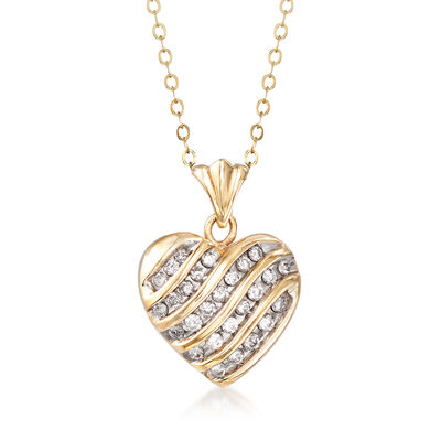 C. 1990 Vintage .50 ct. t.w. Diamond Heart Pendant Necklace in 14kt Yellow Gold, , default