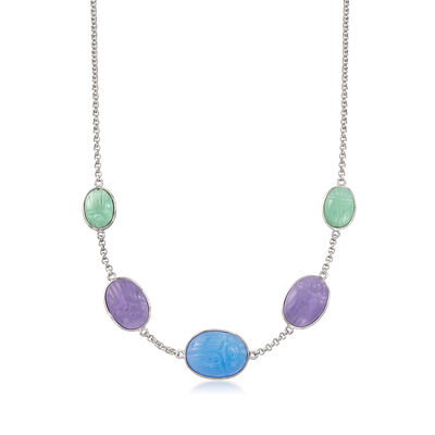 Multicolored Jade Scarab Station Necklace in Sterling Silver, , default