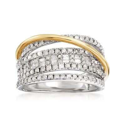 1.00 ct. t.w. Diamond Cluster Highway Ring in Sterling Silver and 14kt Yellow Gold
