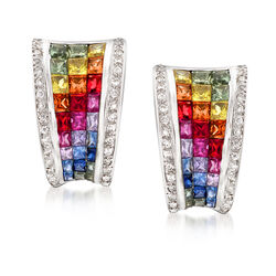 C. 1990 Vintage 4.00 ct. t.w. Multicolored Sapphire and .25 ct. t.w. Diamond Clip-On Earrings in 18kt White Gold, , default