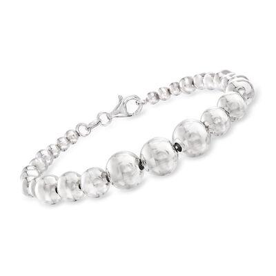 Italian Sterling Silver Graduated Bead Bracelet, , default