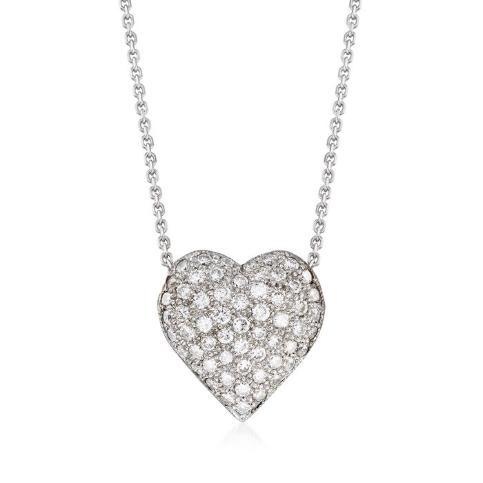C. 1980 Vintage .80 ct. t.w. Pave Diamond Heart Necklace in 14kt White and 18kt Yellow Gold