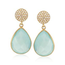 Chalcedony and .33 ct. t.w. CZ Drop Earrings in 14kt Gold Over Sterling, , default