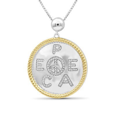 """.25 ct. t.w. Diamond """"Peace"""" Pendant Necklace in Two-Tone Sterling, , default"""