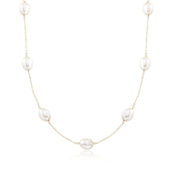 9-9.5mm Cultured Pearl Station Necklace in 14kt Yellow Gold, , default