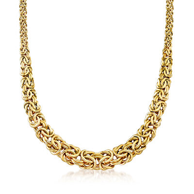 18kt Yellow Gold Graduated Byzantine Necklace, , default