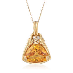 C. 1980 Vintage 6.75 Carat Citrine Pendant With Diamond Accents in 14kt Gold, , default