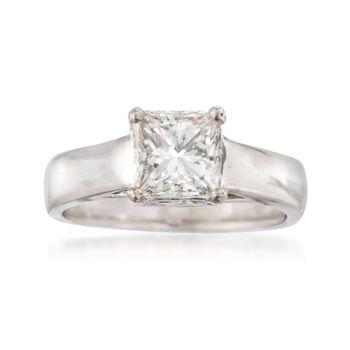 C. 2000 Vintage 2.24 Carat Diamond Ring in Platinum. Size 8.5, , default