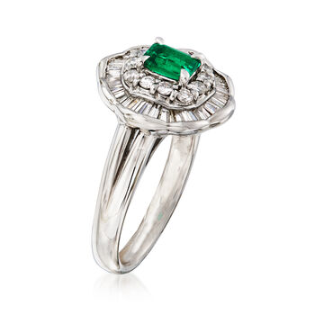 C. 1990 Vintage .39 Carat Emerald and .83 ct. t.w. Diamond Ring in Platinum. Size 6
