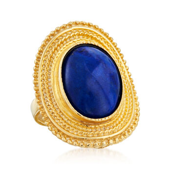 Italian 12x16mm Lapis Ring in 18kt Gold Over Sterling