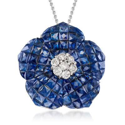 C. 1980 Vintage 12.75 ct. t.w. Sapphire and .35 ct. t.w. Diamond Flower Necklace in 14kt White Gold, , default