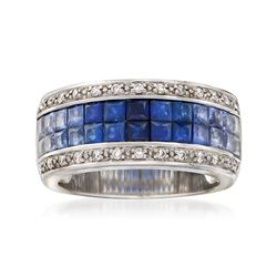 C. 1990 Vintage 3.90 ct. t.w. Sapphire and .20 ct. t.w. Diamond Wide Band Ring in 14kt White Gold. Size 6.5, , default