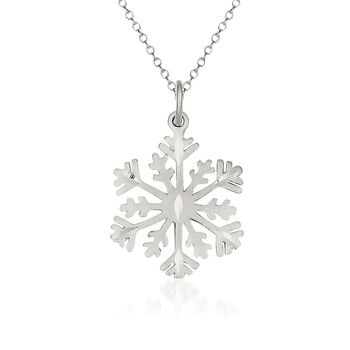 "Sterling Silver Snowflake Pendant Necklace. 18"", , default"