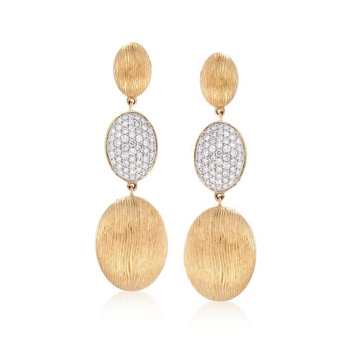 .75 ct. t.w. Diamond Oval Drop Earrings in 14kt Yellow Gold , , default
