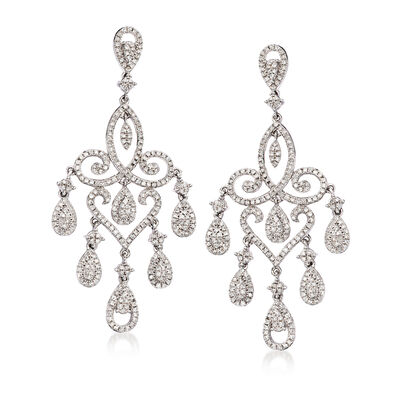 1.75 ct. t.w. Diamond Chandelier Drop Earrings in 14kt White Gold, , default