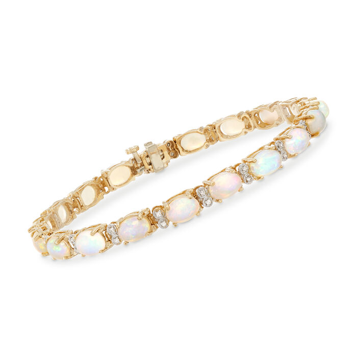 Opal and .25 ct. t.w. Diamond Bracelet in 14kt Yellow Gold, , default