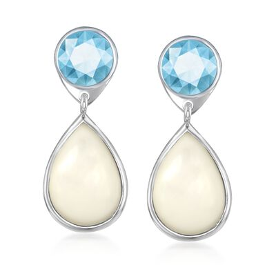 Mother-Of-Pearl and 4.00 ct. t.w. Blue Topaz Drop Earrings in Sterling Silver, , default
