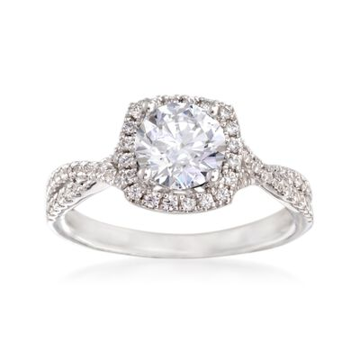 Simon G. .30 ct. t.w. Diamond Twisted Halo Engagement Ring Setting in 18kt White Gold, , default