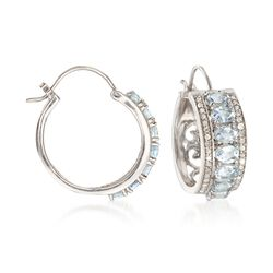2.10 ct. t.w. Aquamarine and .37 ct. t.w. Diamond Hoop Earrings in Sterling Silver, , default