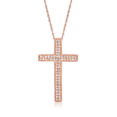 .28 ct. t.w. Diamond Cross Pendant Necklace in 14kt Rose Gold