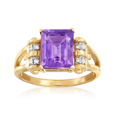 2.80 Carat Amethyst Ring with Diamond Accents in 14kt Yellow Gold