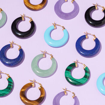 "Purple Jade Hoop Earrings in 14kt Yellow Gold. 1 1/8"""