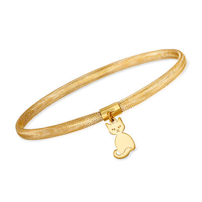 Italian 14kt Yellow Gold Mesh Cat Charm Bracelet