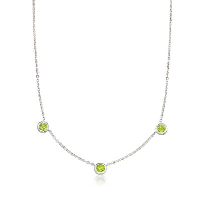 "Zina Sterling Silver ""Contemporary"" 2.60 ct. t.w. Peridot Station Necklace"