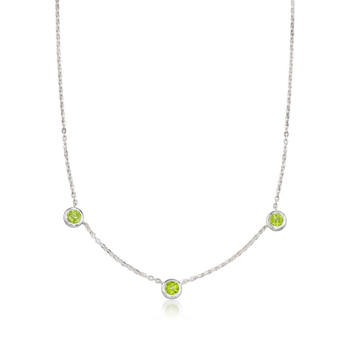 """Zina Sterling Silver """"Contemporary"""" 2.60 ct. t.w. Peridot Station Necklace"""