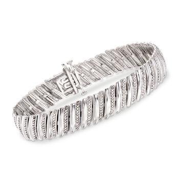 """1.00 ct. t.w. Diamond Diagonal Bar Bracelet in Sterling Silver. 7"""", , default"""