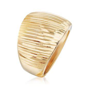 Italian 14kt Yellow Gold Wide Diamond-Cut Dome Ring, , default