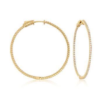 """1.50 ct. t.w. CZ Inside-Outside Hoop Earrings in 18kt Gold Over Sterling. 1 3/4"""", , default"""