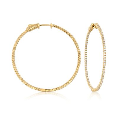 1.50 ct. t.w. CZ Inside-Outside Hoop Earrings in 18kt Gold Over Sterling, , default