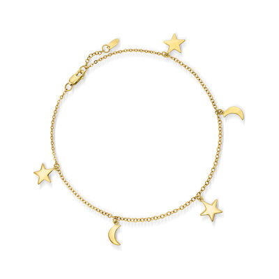 14kt Yellow Gold Star and Moon Charm Anklet