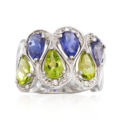 2.00 ct. t.w. Peridot and 1.90 ct. t.w. Iolite Ring with White Topaz Accents in Sterling Silver, , default