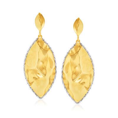 Italian 18kt Yellow Gold Marquise-Shaped Drop Earrings