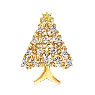 .50 ct. t.w. Yellow and White Diamond Christmas Tree Pin in 18kt Gold Over Sterling