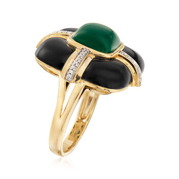 Black and Green Agate Ring with Diamonds in 18kt Yellow Gold Over Sterling