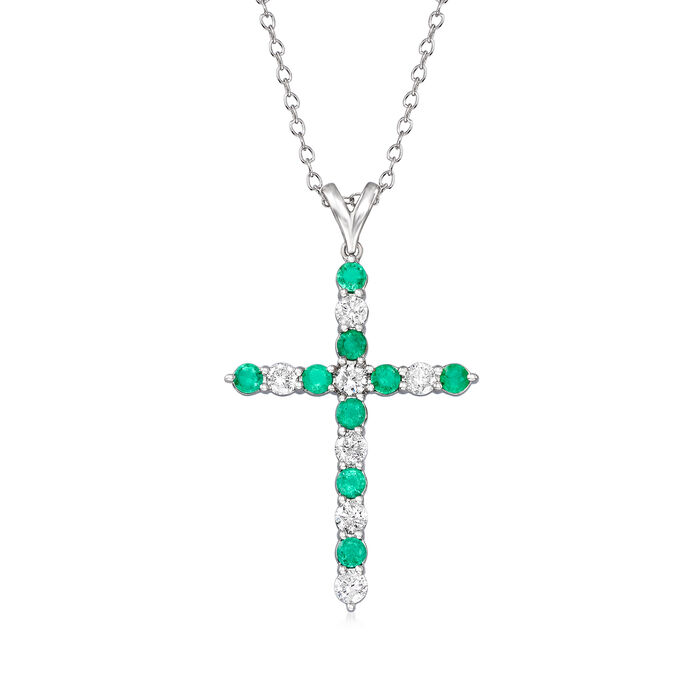 .50 ct. t.w. Diamond and .40 ct. t.w. Emerald Cross Pendant Necklace in 14kt White Gold