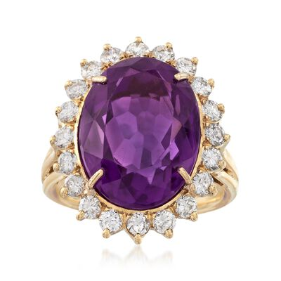 C. 1980 Vintage 9.65 Carat Amethyst and 1.10 ct. t.w. Diamond Ring in 18kt Yellow Gold, , default