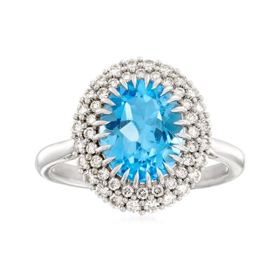 3.00 Carat Swiss Blue Topaz and .48 ct. t.w. Diamond Ring in 14kt White Gold