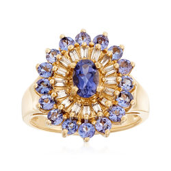 C. 1990 Vintage 1.35 ct. t.w. Iolite and Tanzanite Ring With .55 ct. t.w. Diamonds in 14kt Yellow Gold, , default